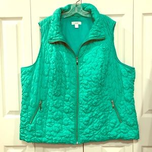 CJ banks plus size quilted green vest 3X